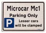 Microcar Mc1 Car Owners Gift| New Parking only Sign | Metal face Brushed Aluminium Microcar Mc1 Model